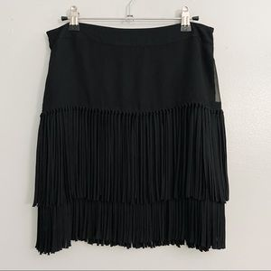 DKNY Black Layered Fringe Mini Skirt - 4